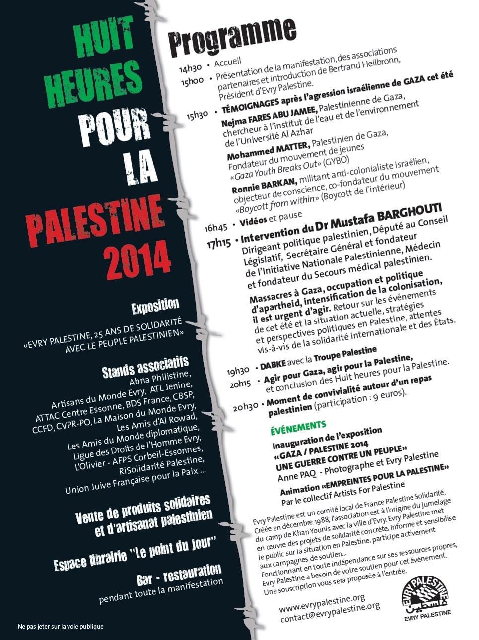 Déroulement Huit Heures Palestine Evry 2014