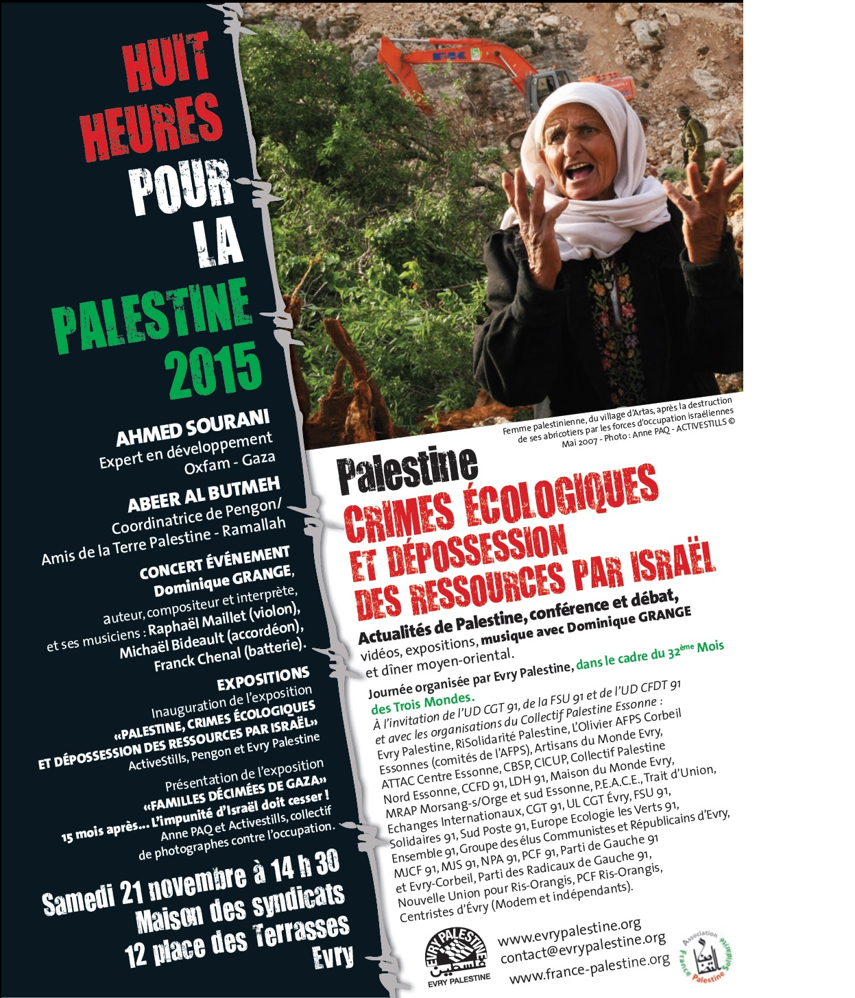 8 heures pour la Palestine Evry 21 novembre 2015